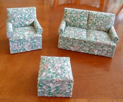 Vintage Wood/Fabric Set Of 3 Dollhouse Furniture