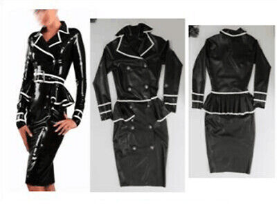 Hot Sale Latex Auzug Top&Dress Schwarz&Weiß Skirt Gummi Rubber Cool Kleid S-XXL