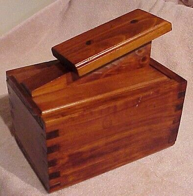 Vintage Antique Wooden Dovetail Slide Lid Shoe Shine Box With Foot Pad