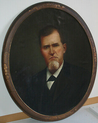 Antique 19th Century American School Oil Painting Portrait of a Man w mustache