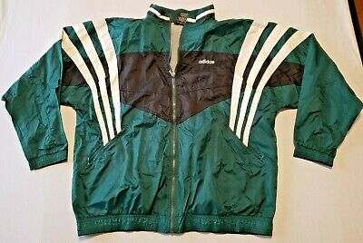Vintage ADIDAS Track Jacket Mens XXL Zip Up Green Black White