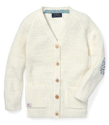 Polo Ralph Lauren New Toddler Girls Elbow-Patch Cotton Cream Sweater Cardigan 4T