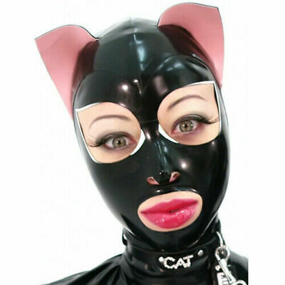 Latex Rubber Hood Black&Pink Mask Cozy Maske Open Mouth and Eyes Cosplay S-XXL