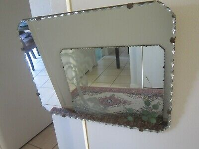 Unique Vintage Art Deco Pie Crust Edged Mirror with Corner Motif