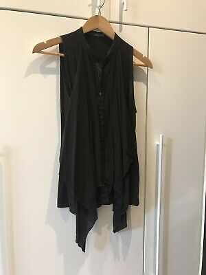 Scanlan Theodore Black Silk Sleeveless shirt with flowing front detail size SM