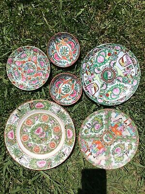 6 X Antique Chinese Porcelain Plates Famille Rose Mandarin