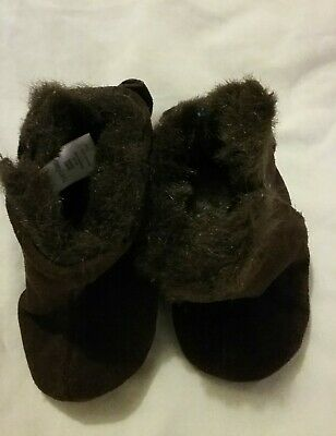 Baby Gap Brown Suede Girls Bow Booties  12-18 Months