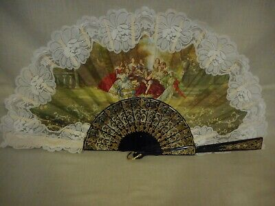 Cloth Fan With Lace Trim