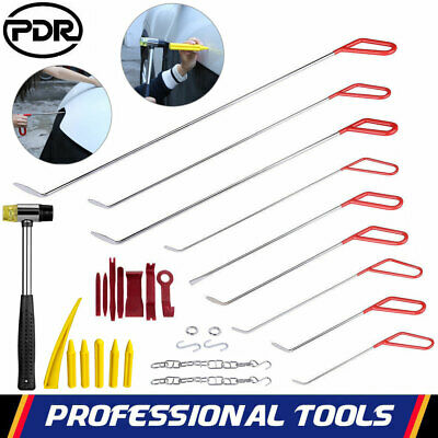 PDR Push Hook Rod Puller Hammer Tap Tool Car Body Hail Paintless Dent Repair Kit