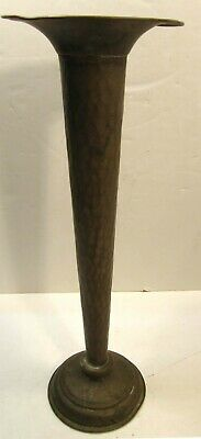 "Antique Vintage 14"" Tall Hammered Arts & Crafts Trumpet Vase"