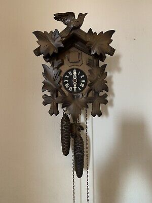 Vintage Twin Weight Cuckoo Clock Working