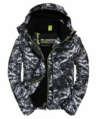 New Mens Superdry Arctic Hooded Print Pop Zip Sd-Windcheater Abstract Alpine - L
