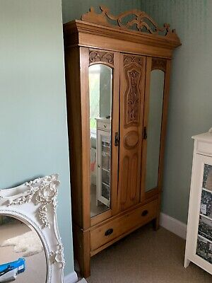 Stunning Edwardian Mirrored wardrobe, Art Nouveau, 2 door With drawer