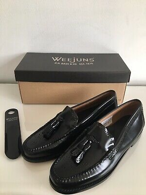 Size 6 (EU39) Bass Estelle Weejuns Black Leather Brogue Loafers NEW