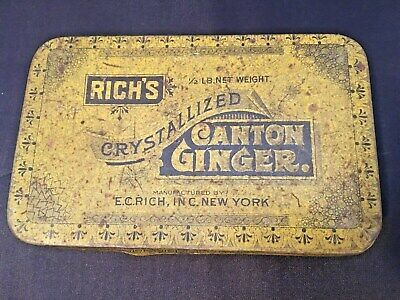 Antique Rich's Crystallized Canton Ginger Tin  1/2 pound