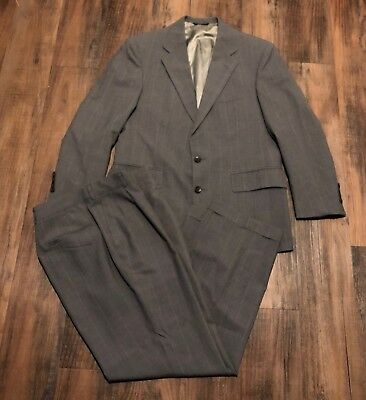 VTG Ralph Lauren Polo University Club Mens Striped Gray/Charcoal Suit 42R 32x29
