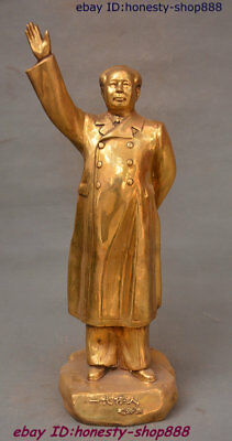 "24"" Chinese Brass Great ideologist statesman Leader Mao Ze Dong Chairman Statue"