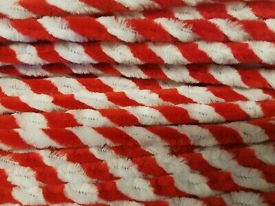 "100 Red & White Candy Cane Striped 12"" Pipe Cleaners Christmas Chenille Stems"