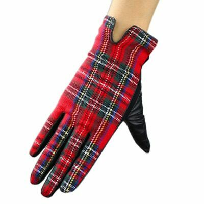 Women Patchwork Gloves Leather Short Red Plaid Touch Screen Stitching Mitten