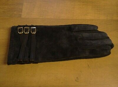 Dents Ladies Dark Blue Suede Gloves Leather Strap and Buckle Touchscreen Size L