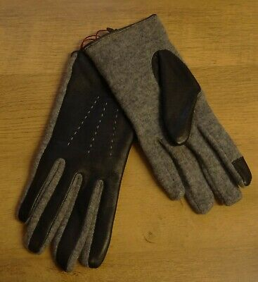 Dents Ladies Grey Wool Blend Knitted Jersey Gloves Black Leather Backs Size L