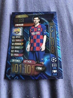 Topps Match Attax 19/20, Champions & Europa league, 100 club,LIONEL MESSI 331