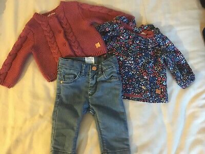 Girls CARREMENT BEAU Outfit Cardigan Top Jeans Age 3 Months