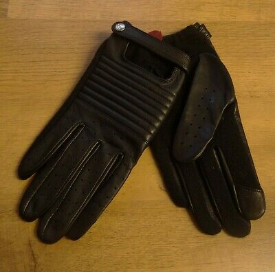 Dents Ladies Black Leather Backed Wool Driving Gloves Touchscreen One Size New