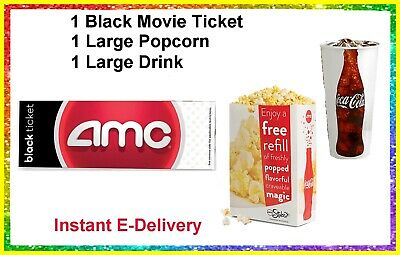 1 Black Movie Ticket 1 Large Popcorn 1 Drink AMC Theaters. delivered instantly