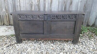 Antique Oak Coffer Chest 18/19 century.