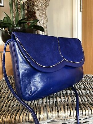 Stunning Vintage Bruno Magli Made in Italy Blue Leather/ suede shoulder bag
