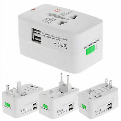 Universal World Plug Travel Adapter Converter &Dual F8V0 USB Charger! P1K3