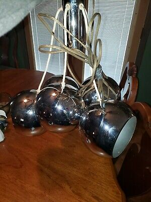 Vintage Mid Century Modern Chrome 5 Orb Light Fixture Chandelier  Atomic Space