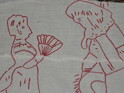 Antique vintage redwork embroidery quilt block - Victorian lady with fan and man