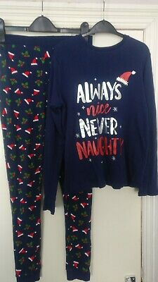 Kids Unisex Navy Christmas PJ's / Pyjamas By George Size 11-12 Years Always Nice