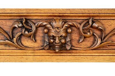 Architectural French Hand Carved Wood Pediment Panel Cornice Head