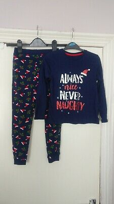 Kids Unisex Navy Christmas PJ's / Pyjamas By George - Size 6-7 Years Always Nice