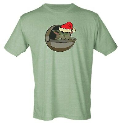 Baby Yoda With Santa Hat The Mandalorian Sublimation 65/35 Blend Tee Shirt
