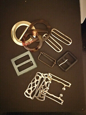 Preowned - Vintage Selection Buckles - 10 x Mixed Designs - Sewing Dressmaking