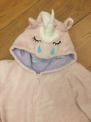 Girls Sparkle Pink M&S Fluffy Unicorn Onesie (not Gerber) 12-13-14 All-in-one