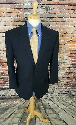 Jos A Bank Signature Collection 42S Navy Plaid WOOL Sport Coat Blazer Jacket EUC