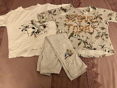 2 Next Girls Pyjama Tops Age 6 Nightwear White Grey Birds Slogan Free Leggings