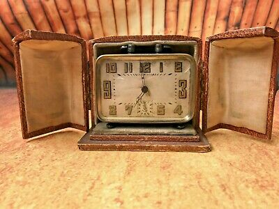 Rare Antique Art Deco French Travel Alarm Clock, original case (Brevete SDGD)