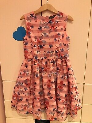 Girls Primark Pink Butterfly and Flower Party Dress Age 7/8 Years VGC