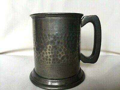 Antique Pewter Small Hammer Finish Tankard with Glass Bottom