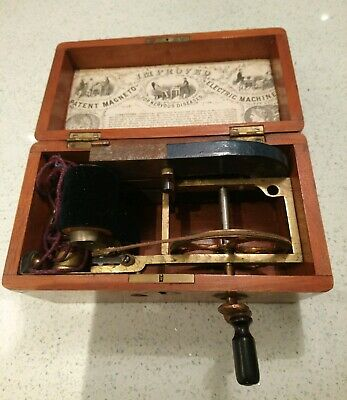Working Antique Magneto Electric Shock Machine For Nervous Diseases  Handbook