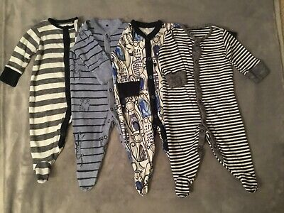 Next Baby Boys Blue black And White Character Sleepsuits 3-6 Months