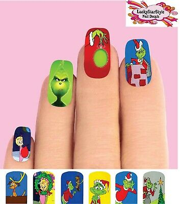 Waterslide Full Nail Decals Set of 10 - The Grinch Christmas Full Nail Decals
