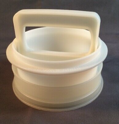 Vintage Tupperware Burger Press 5 pc Set Ring Handle 2 Patty Keepers Lid White