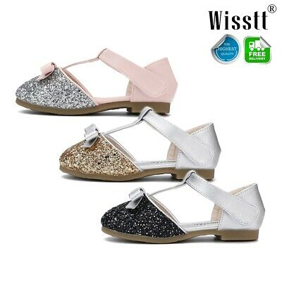 Toddlers Infant Kids Girls Ankle Strap Cute Bling Sequin Princess Sandals Shoes